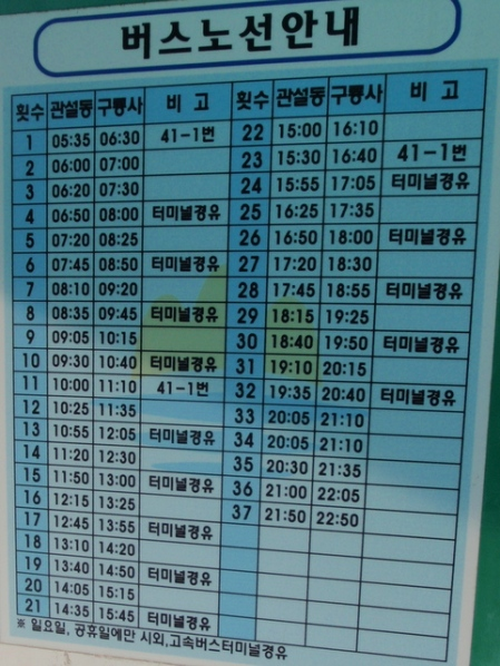 Bus timetable at Guryongsa car park.