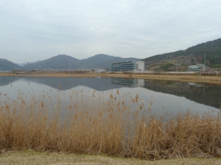 The view over the lake towards the grandstand.