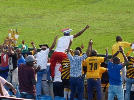 Amtuks fans celebrate Nyondo's goal.