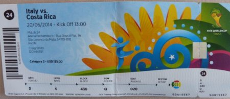 Italy v Costa Rica ticket