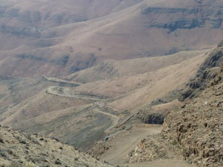 Looking back down Sani Pass