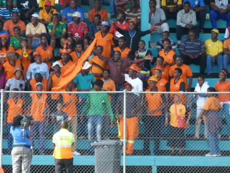 The Polokwane fans play up for the cameras.