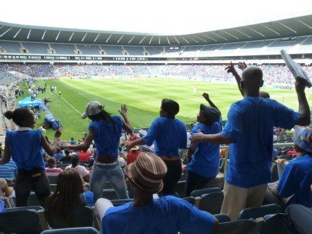 Supersport fans celebrate the equaliser.