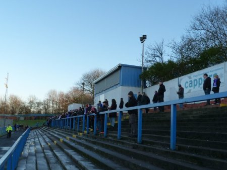 Cowdenbeath fans in front of the tea hut.