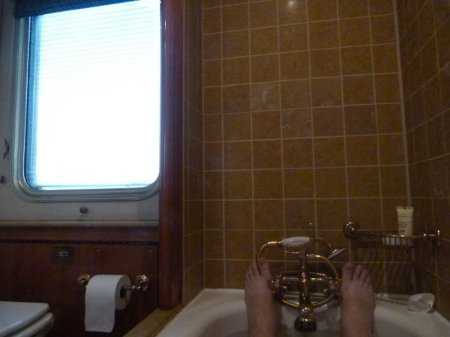 In the bath. On a Train.